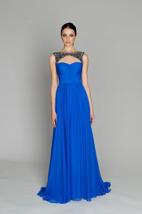 Monique Lhuillier longo azul
