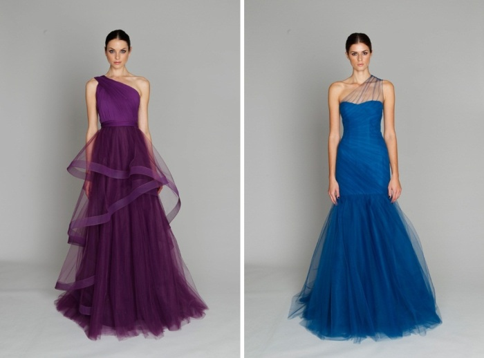 Monique Lhuillier vestido longo roxo e azul tule