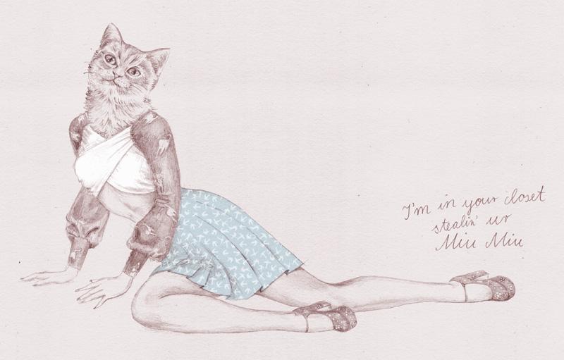 Elisabeth Moch Miu Miu illustration cat