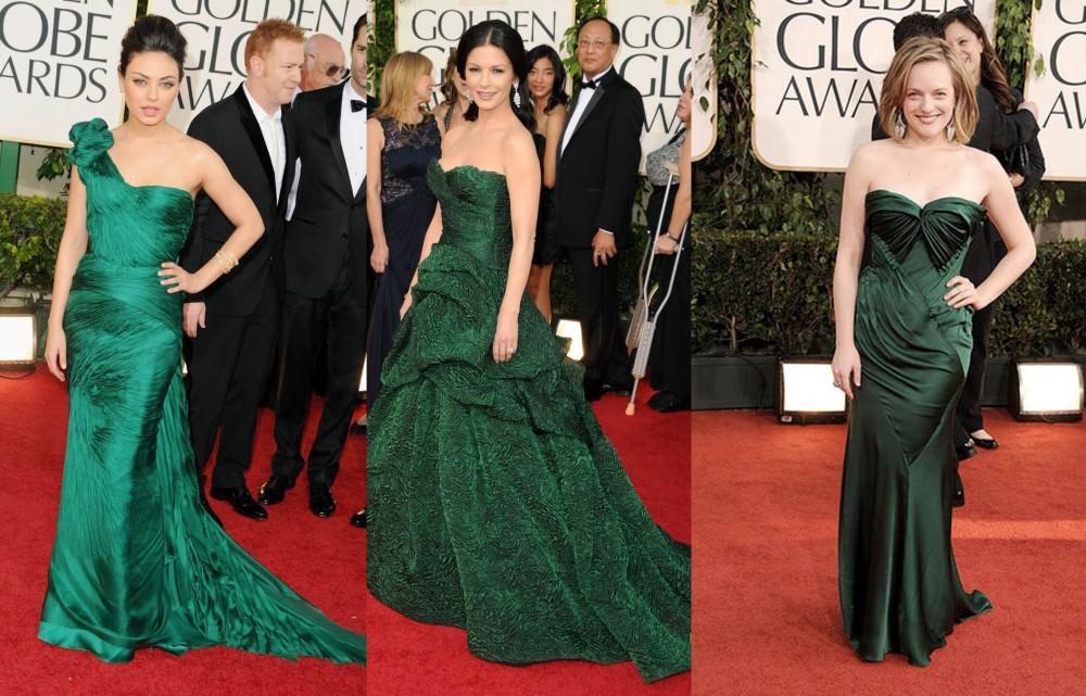 Vestidos Verdes Golden Globes Mila Kunis, Catherine Zeta-Jones, Elisabeth Moss