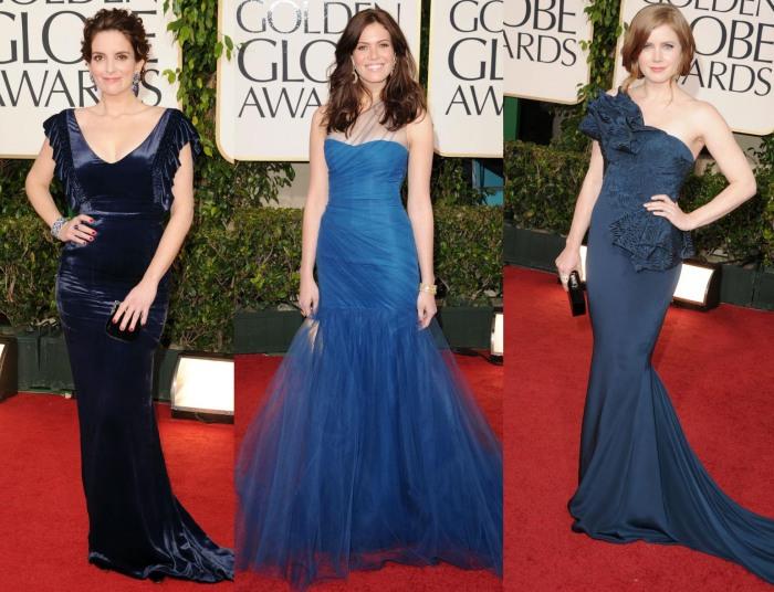 Vestidos Azuis Golden Globes 2011 Tina Fey, Mandy Moore, Amy Adams