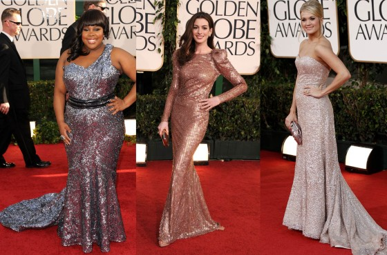Vestidos com brilho Golden Globes 2011 Amber Riley, Anne Hathaway, Carrie Underwood