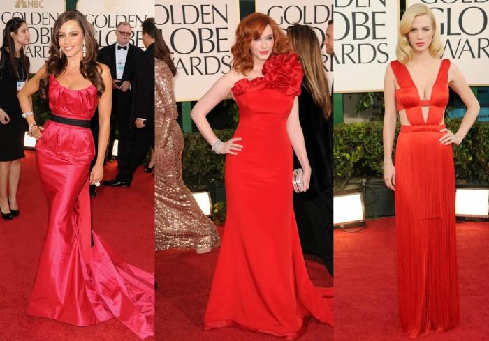 Vestidos Vermelhos Golden Globes Sofia Vergara, Christina Hendricks, January Jones