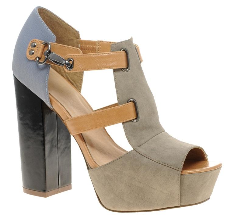 Sapato Asos plataforma cinza caramelo