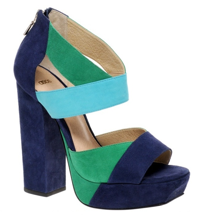 Sapato Asos plataforma turquesa azul verde