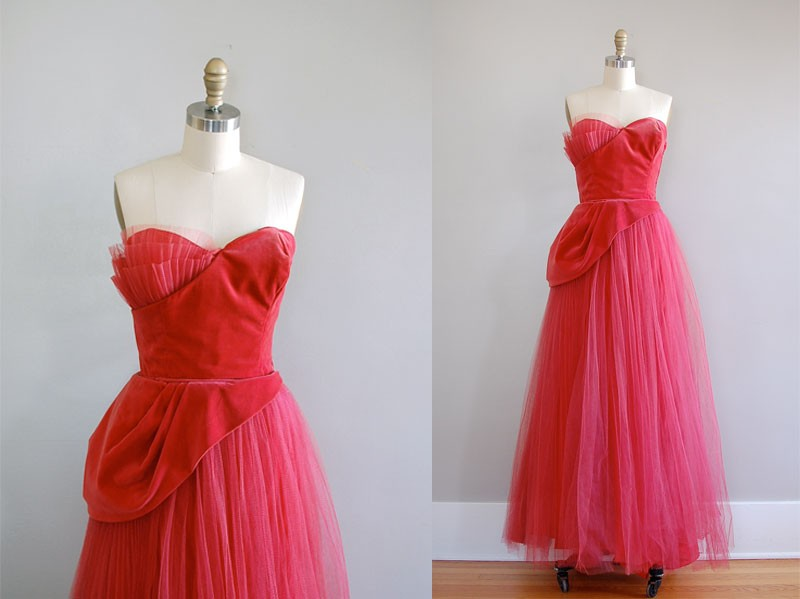 vintage 1940s Dubonnet strapless dress Golden vitage