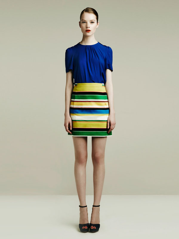 zara spring 2011 lookbook blue shirt stripes skirt