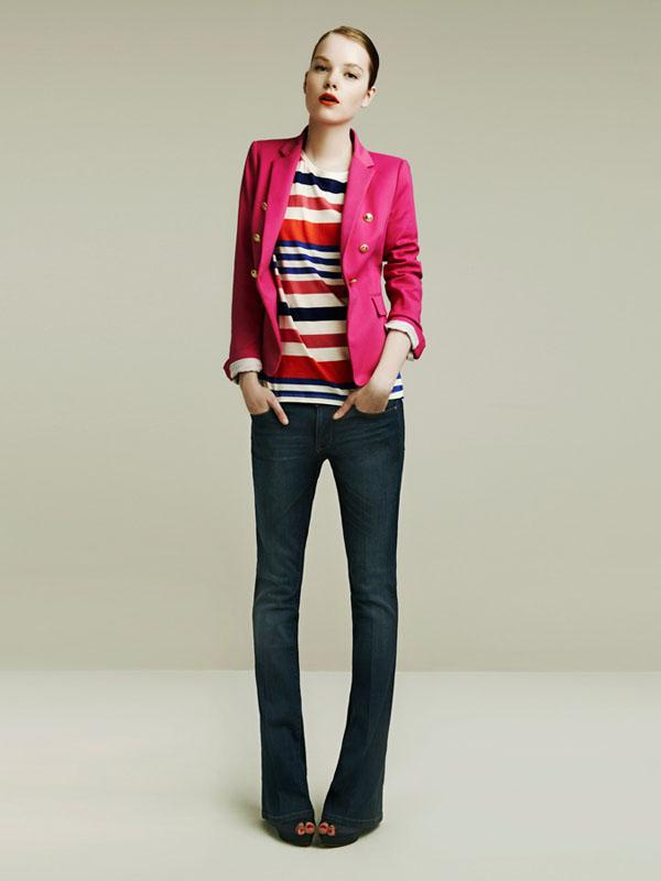zara spring 2011 lookbook pink blazer stripes flare jeans