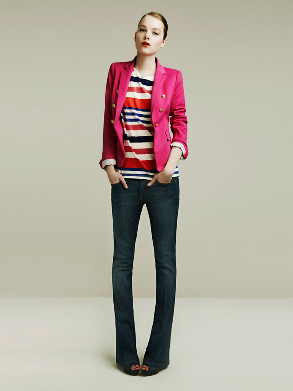 zara spring 2011 lookbook pink blazer stripes flare jeans