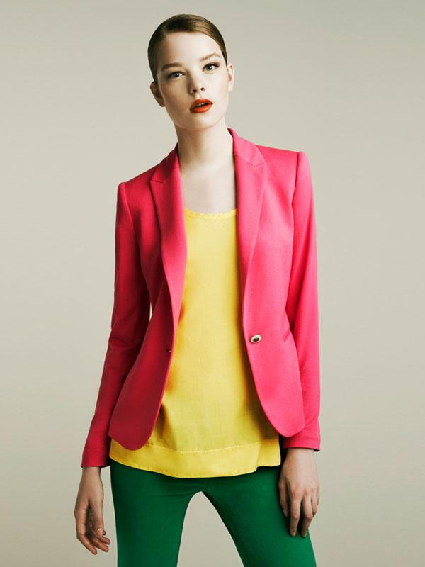 zara spring 2011 lookbook pink blazer yellow top green jeans