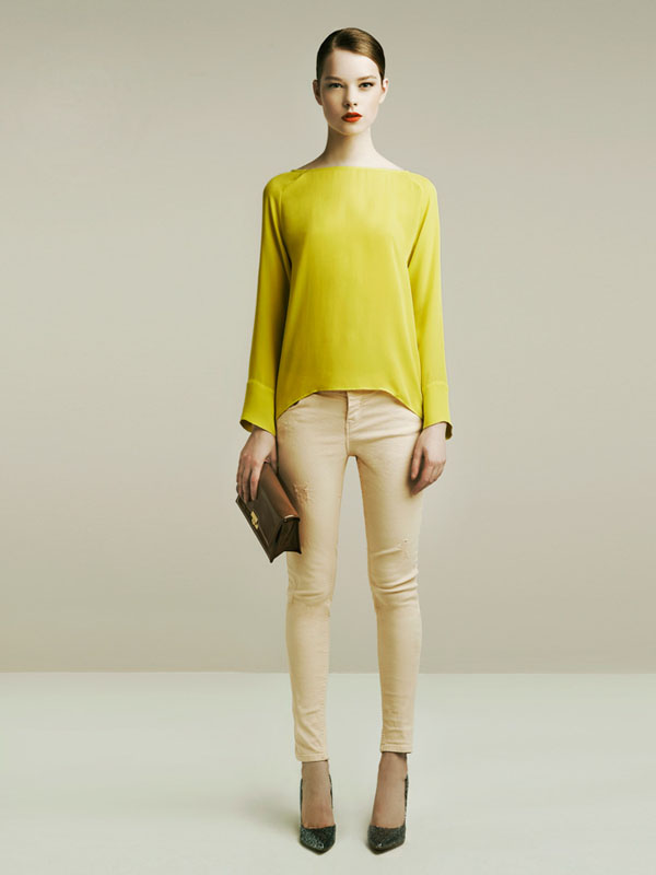 zara spring 2011 lookbook yellow top nude jeans