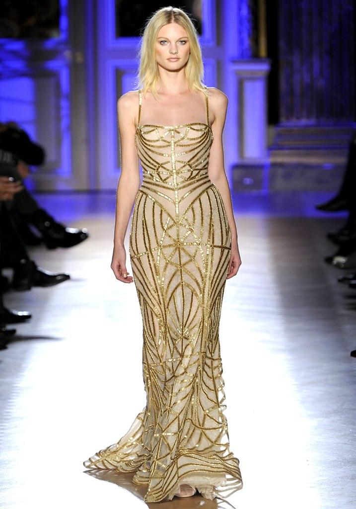 Zuhair Murad alta costura primavera 2012 vestido dourado bordado