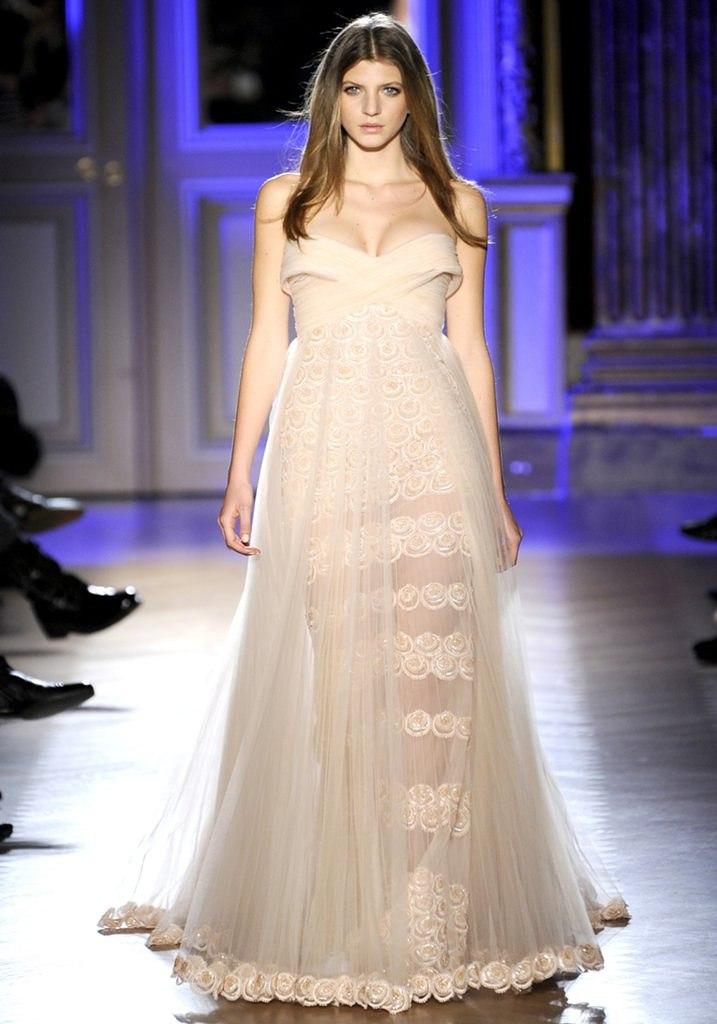 Zuhair Murad alta costura primavera 2012 vestido nude renda tule